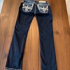 Rock Revival straight dark jeans. Size 27